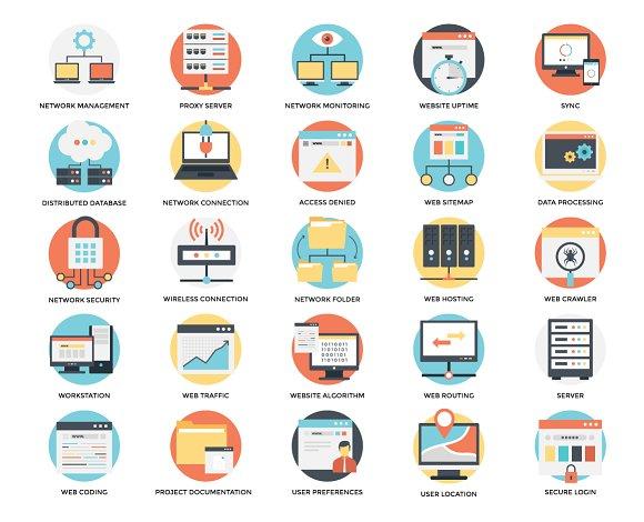 100 Flat Web Hosting Icons