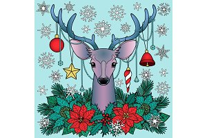 Christmas Deer Composition