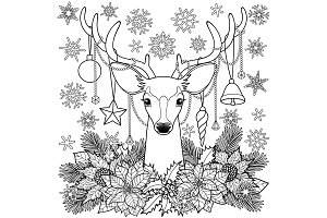 Christmas Deer Outline Composition