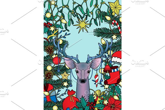 Christmas Deer Composition