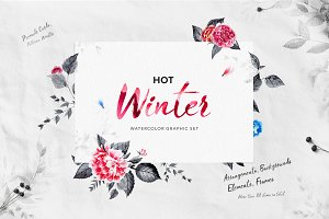 Hot Winter - Watercolor Graphic Set