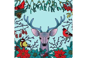 Winter Colorful Pattern with Deer and Birds