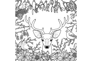 Winter Outline Pattern with Deer and Birds