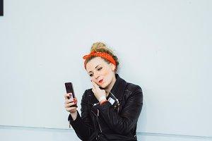 selfie on smartphone
