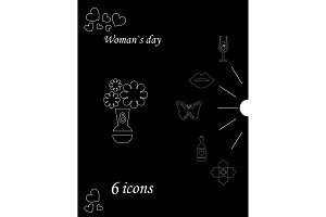 I love you womens doodle 6 icon in set of womens day