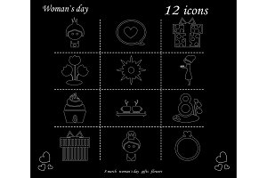 I love you womens doodle 12 icon in set of womens day