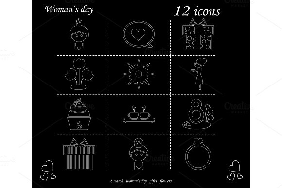 I love you womens doodle 12 icon in set of womens day in Illustrations