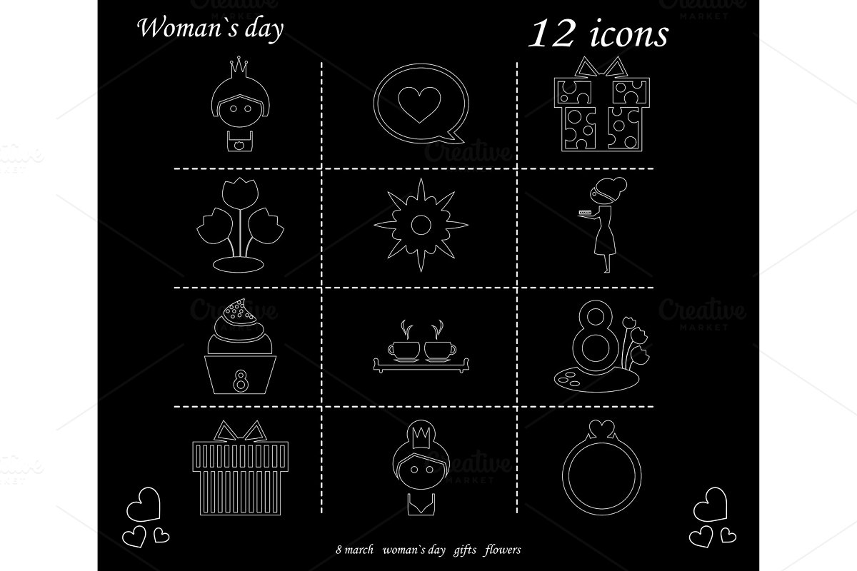 I love you womens doodle 12 icon in set of womens day in Illustrations - product preview 8