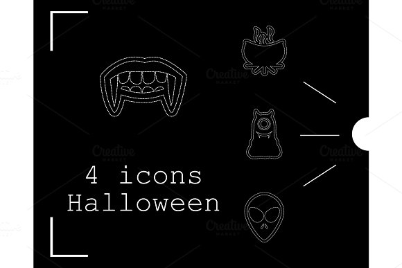 Collection Of 4 Halloween Icons Vector Illustration In Thin Line Style