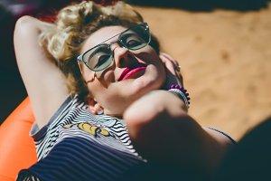 girl in vintage sunglasses
