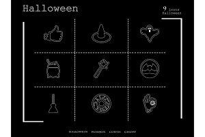 Collection of 9 halloween icons. Vector illustration in thin line style