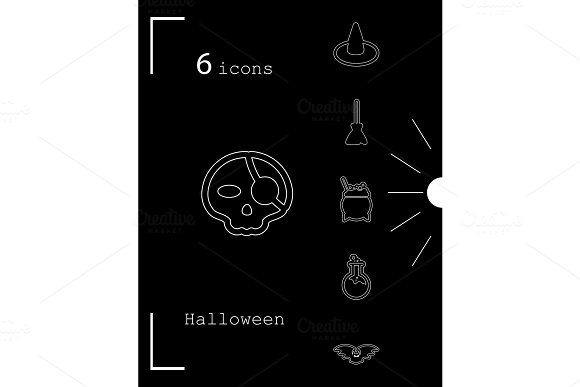 Collection Of 6 Halloween Icons Vector Illustration In Thin Line Style