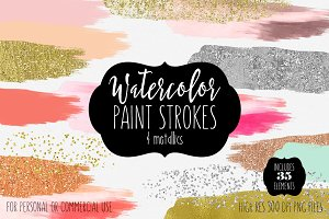 Watercolor & Metallics Brush Strokes