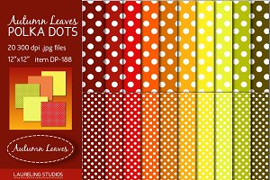 Autumn Leaves Polka Dot digital pape