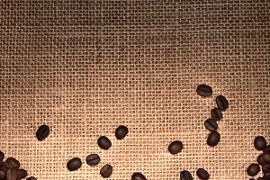 Coffee Beans on Light to Dark Burlap