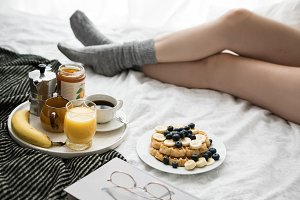 Breakfast in cozy bed XI