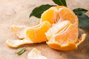 Fresh peeled mandarin tangerine