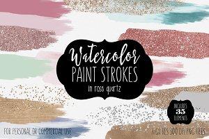 Watercolor Brush Strokes & Rose Gold