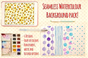 Seamless Watercolor Pattern Bundle
