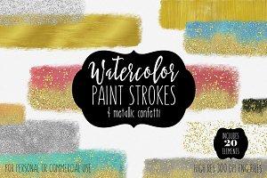 Gold & Watercolor Brush Strokes