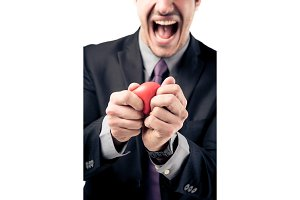 Businessman Squeezing Stress Ball