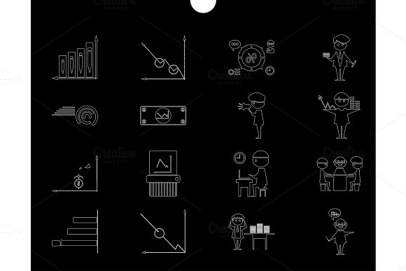 Outline Web Icon Set Money Finance Payments Withhumans Silhouette