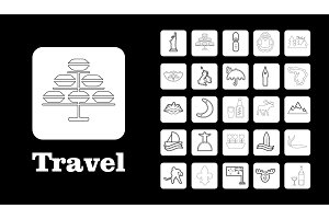 Travel Line Icons for Web and Mobile. Thin line icons. Black in white