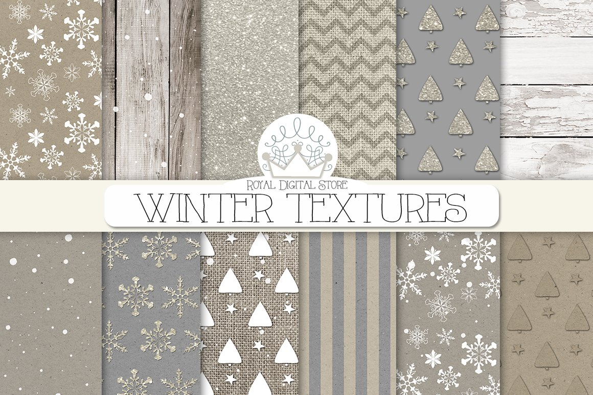 Winter Textures Digital Paper Pack Custom Designed Textures Creative Market
