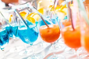 Colorful Cocktails On A Tray