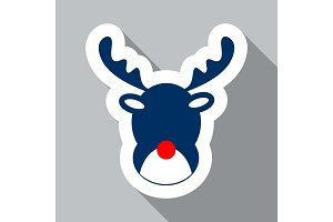 Deer Head On Wall Christmas New Year Red Line Icon