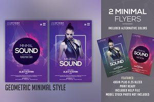 Minimal Sound - 2 PSD Flyer Template