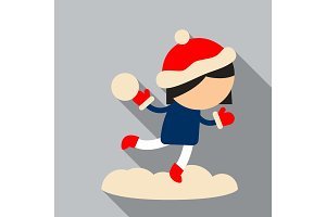 Cute little baby girl in blue ski suit in red shoes with snowflakes around her, colorful vector illustration