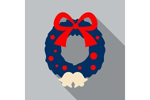 Elegant Christmas wreath with bells and ribbons. Vector