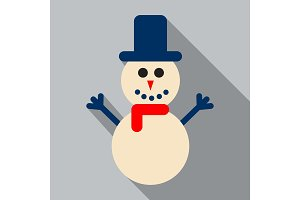 Snowman vector illustration with blue hat