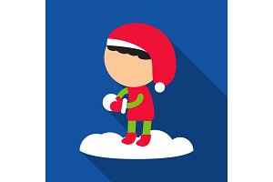 Flat icon with shadow girl is playing snowballs