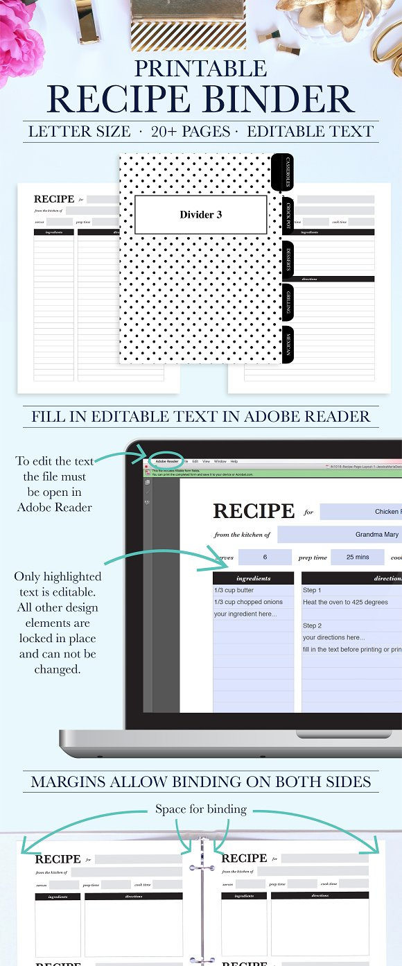 recipe binder printable kit stationery templates creative market