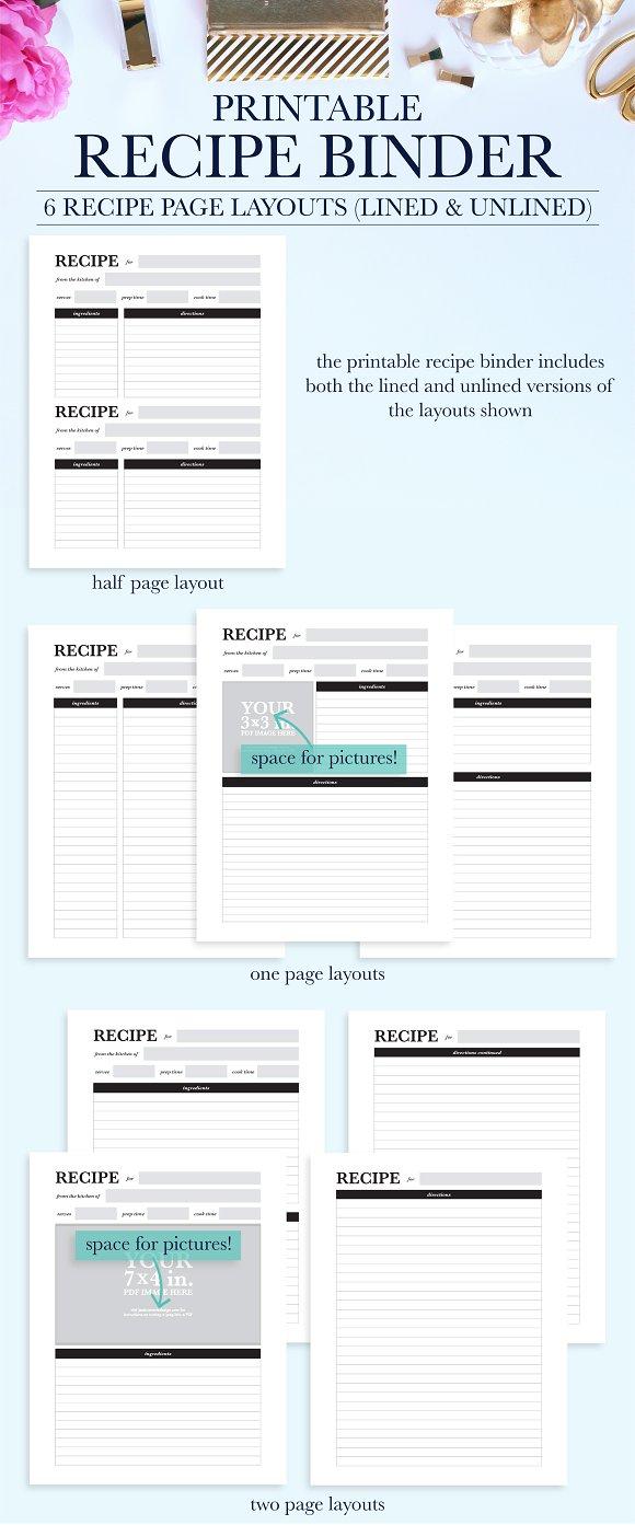 recipe binder printable kit stationery templates creative market