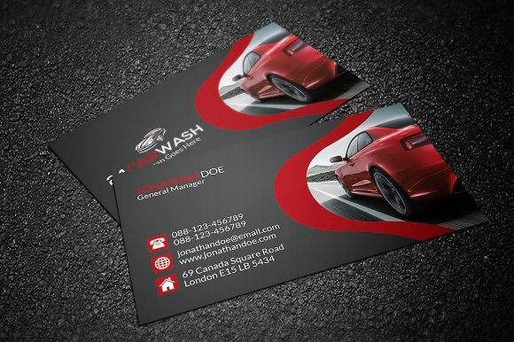 Car wash business card business card templates creative market reheart Images