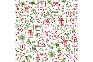 Christmas design element in doodle style pattern. Traditional winter holiday hand drawn icons in red and green colors seamless background.Seasonal vector illustration