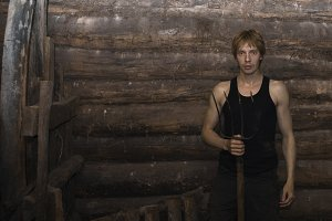 Man in the barn