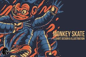 Monkey Skate Illustration