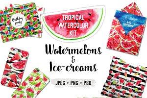 Watercolor Watermelons & Ice-creams