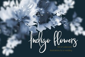 Indigo watercolor flowers