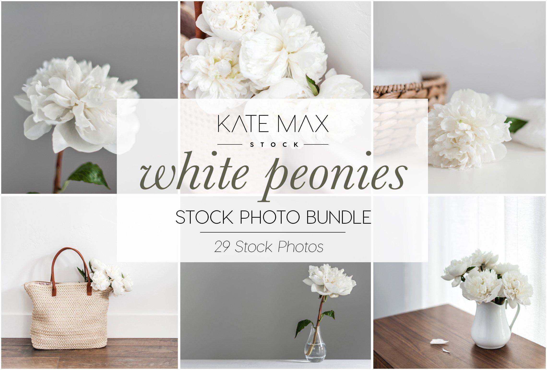 White Peonies Stock Photo Bundle Product Mockups Creative Market