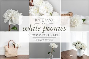 White Peonies Stock Photo Bundle