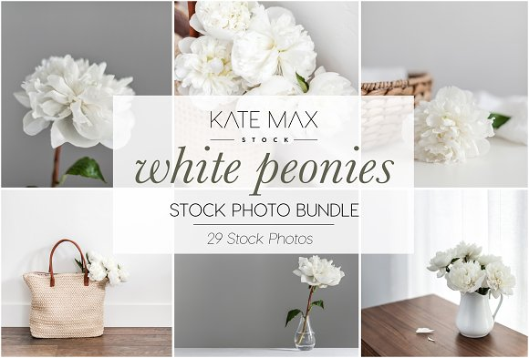White peonies stock photo bundle product mockups creative market mightylinksfo