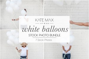White Balloons Stock Photo Bundle