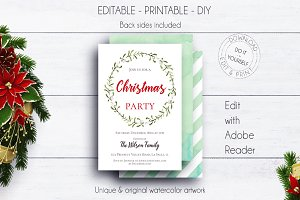 Christmas Wreath Holiday Invite