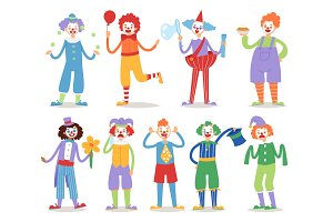 Clown vector circus character funny circus man clownery colorful friendly cartoon costume male clownish artist illustration.