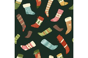 Christmas socks vector Santa Xmas New Year gift traditional Christians symbol sey illustration different textile design food seamless pattern background